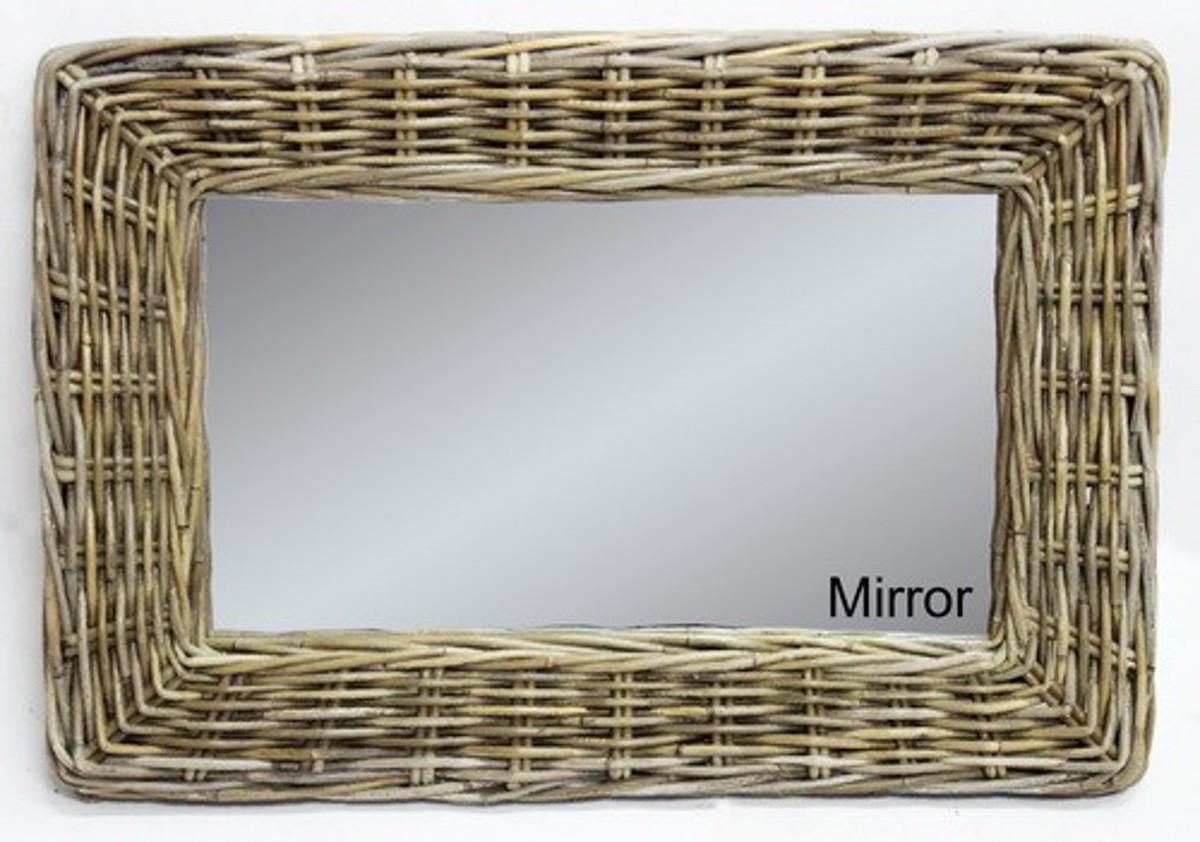 Ratanové zrcadlo 65x45 NEW kubu grey