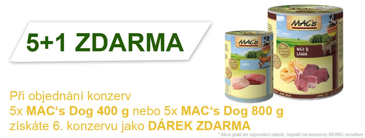 Konzervy pro psy MAC's Dog v AKCI 5+1