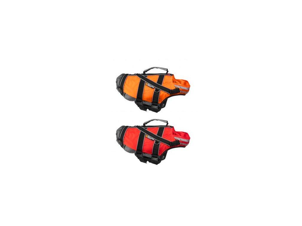 vesty červená a oranžová