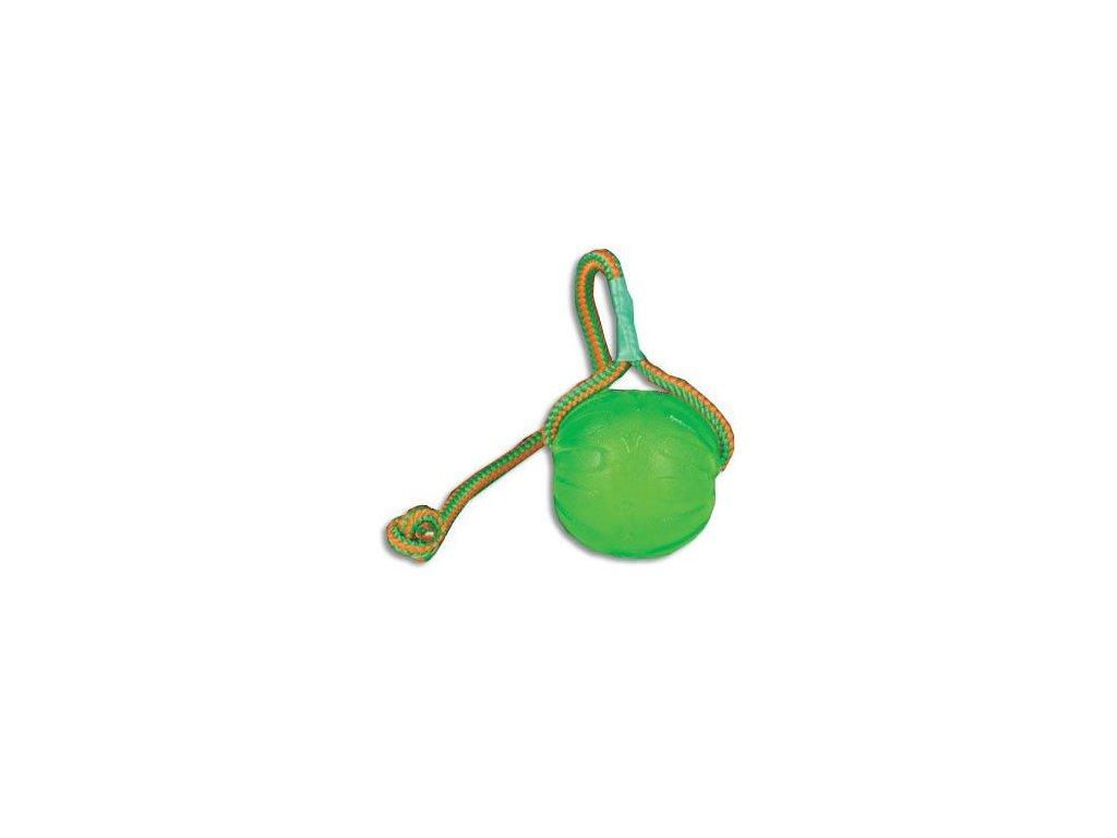 STARMARK Silikonový míček na šňůrce s otvorem na krmivo