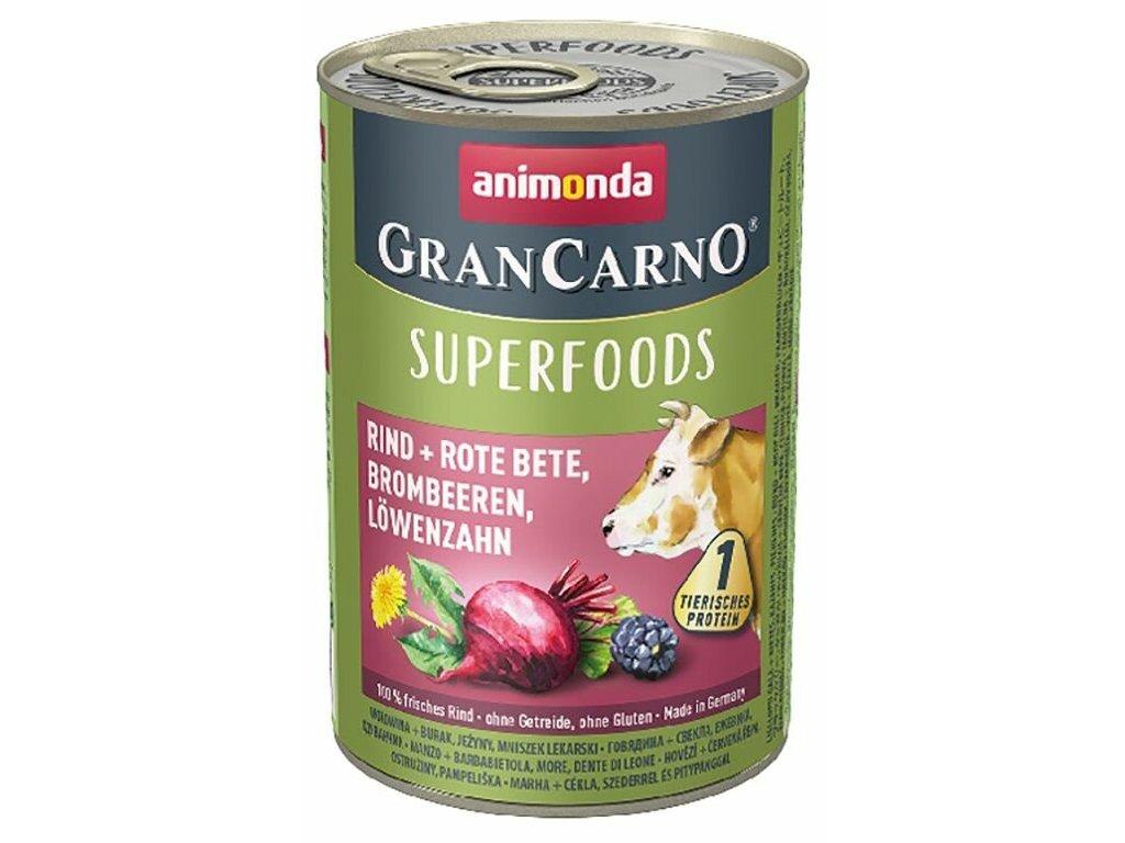 Animonda GranCarno Superfoods hovězí,čv.řepa,ostružiny,pampeliška 400 g