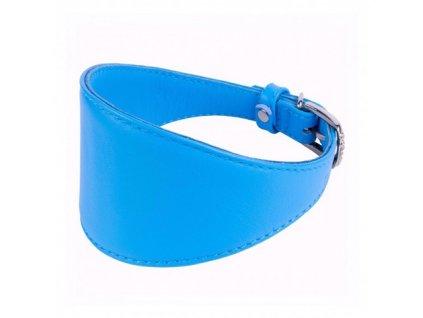 Obojek kožený CoLLaR Glamour GREYHOUNDS pro chrty - modrý