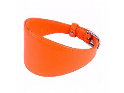 Obojek kožený CoLLaR Glamour GREYHOUNDS pro chrty - oranžový
