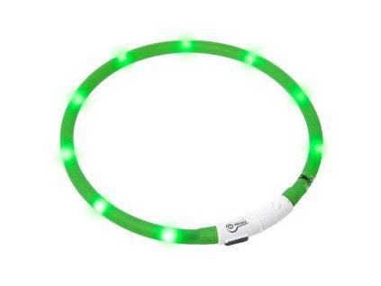 LED svetelny obojek zeleny obvod 20 75 cm sviti cca 500m daleko USB nabijeni 1108201608451658850