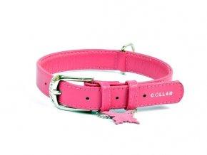 Kožený obojek páskový CoLLaR Glamour SOFT - růžový
