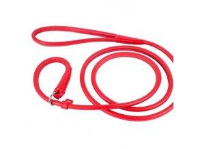 Kožené vodítko vypouštěcí CoLLaR Glamour LOOP - kulaté červené
