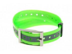 Plastový obojek reflexní zelený, 25 mm x 70 cm