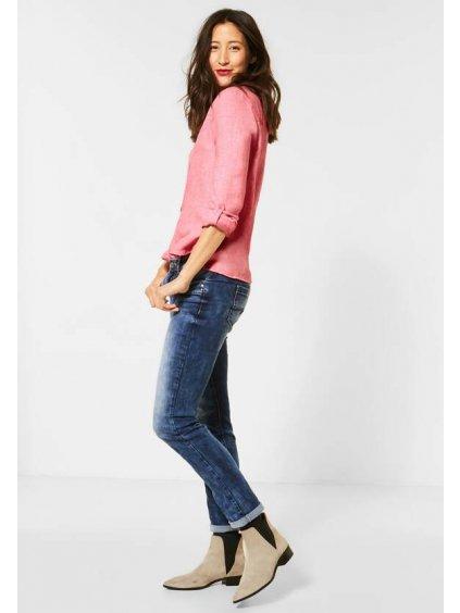 košile v trendy stylu košile Dlouhé rukávy se sportovní funkcí natažení Poloviční knoflík Rozparek s výstřihem Melanžový vzhled