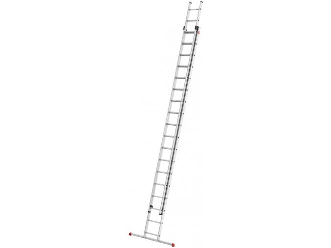 Hliníkový dvoudílný výsuvný žebřík HAILO PROFISTEP DUO 2 x 18 příček