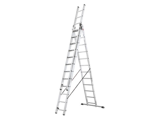Hliníkový třídílný žebřík výsuvný HAILO PROFISTEP COMBI 3 x 12 příček