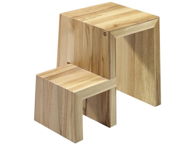 Dřevěná přírodní stolička se schůdky HAILO U 2 stupně