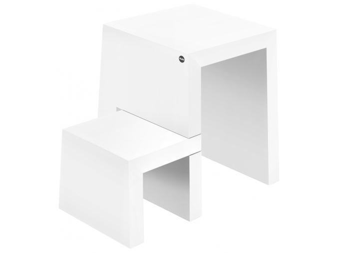 Dřevěná bílá stolička se schůdky HAILO U 2 stupně