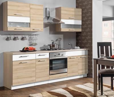 Kuchyně MODENA TAFLA buk / bílý lesk