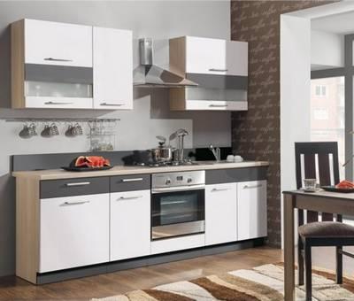 Kuchyně MODENA MDF bílý lesk / grafit mat