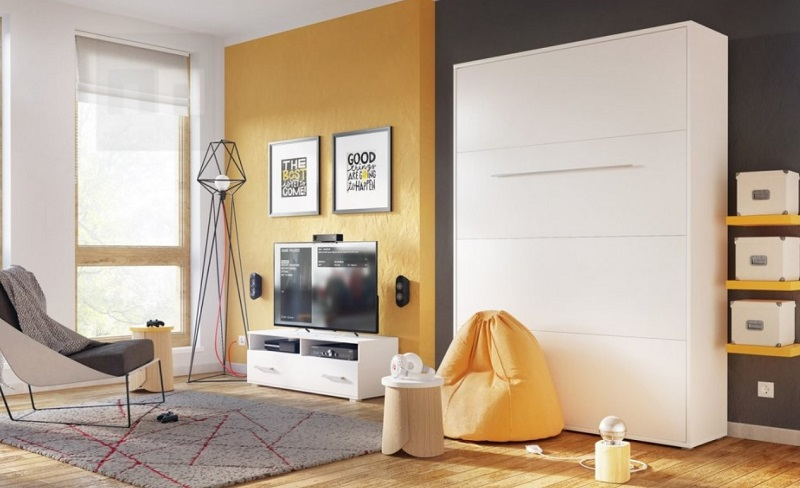 Výklopná - sklopná postel 90 × 200 v obýváku