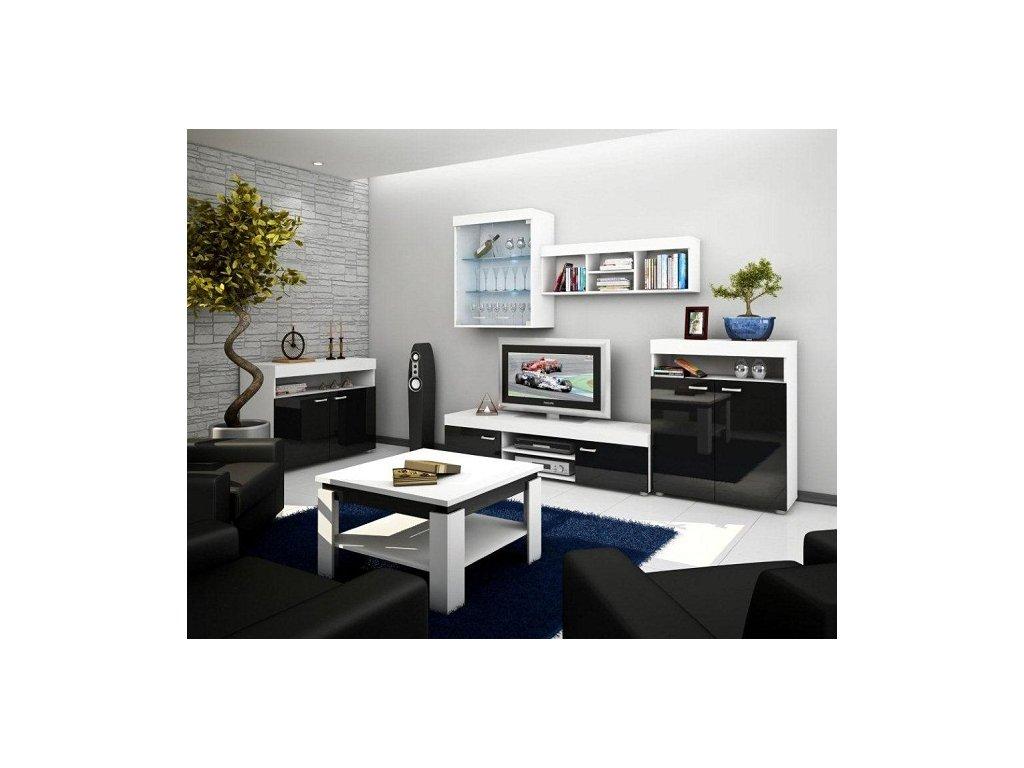Obývací stěna MAX bílá/černý lesk