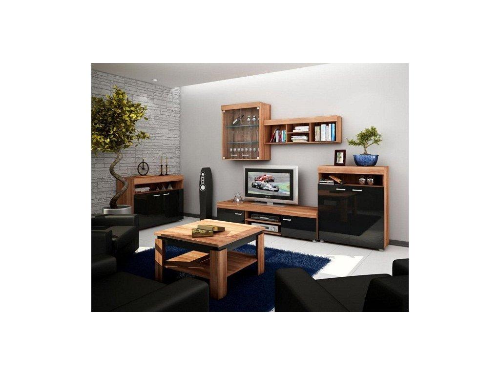 Obývací stěna MAX švestka/černý lesk