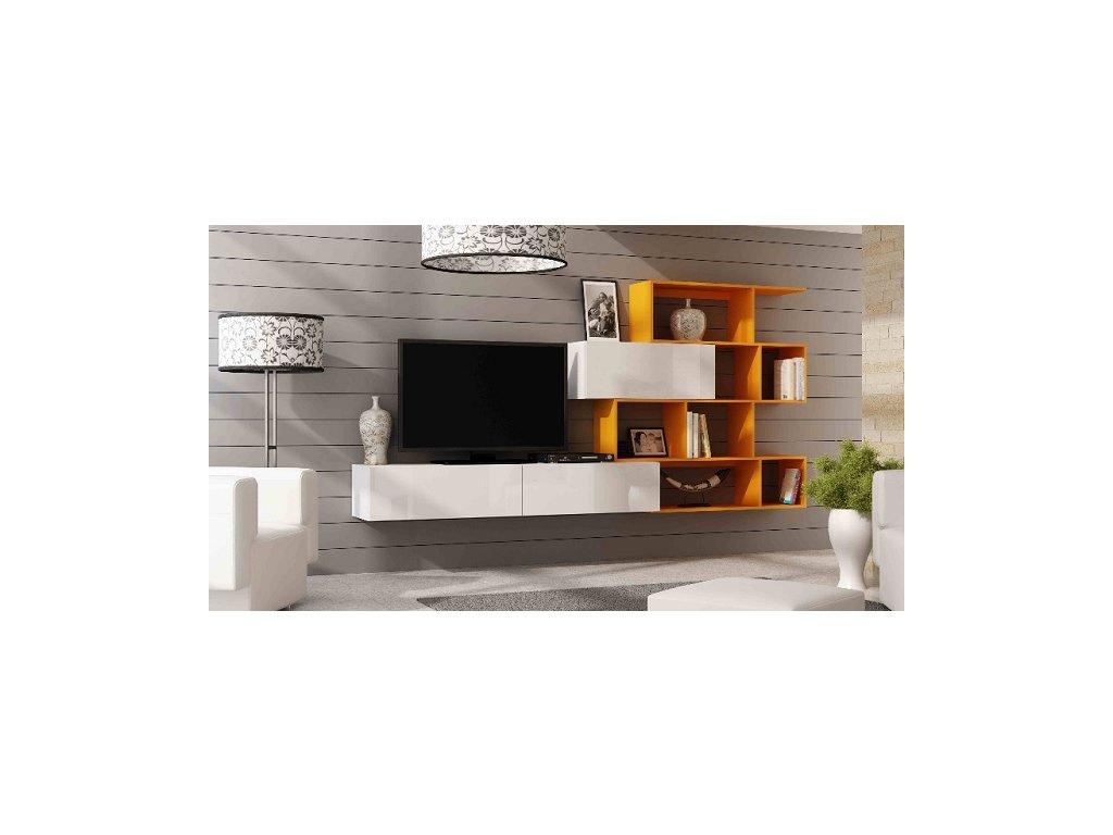 Obývací stěna VIGO XVI NEW bílý mat/bílý lesk/oranž
