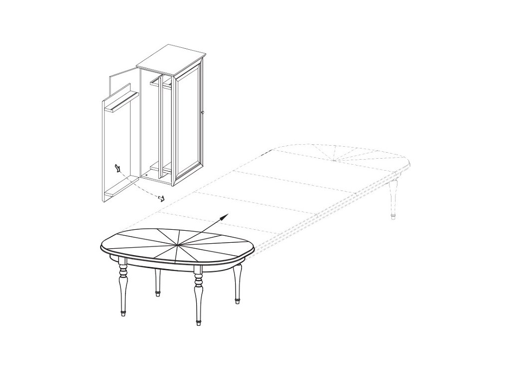 Jídelní stůl FLORENCIE FL-S1 se skříňkou na přídavné desky stolu