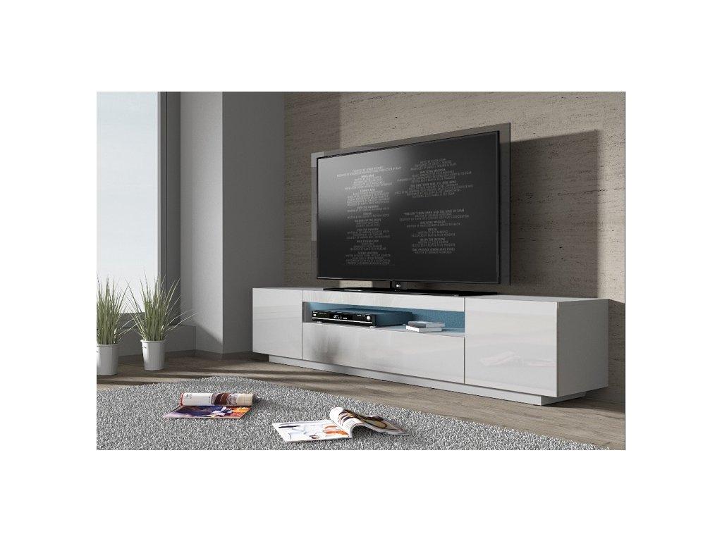 RTV skříňka TV 200C  bílá / bílý lesk