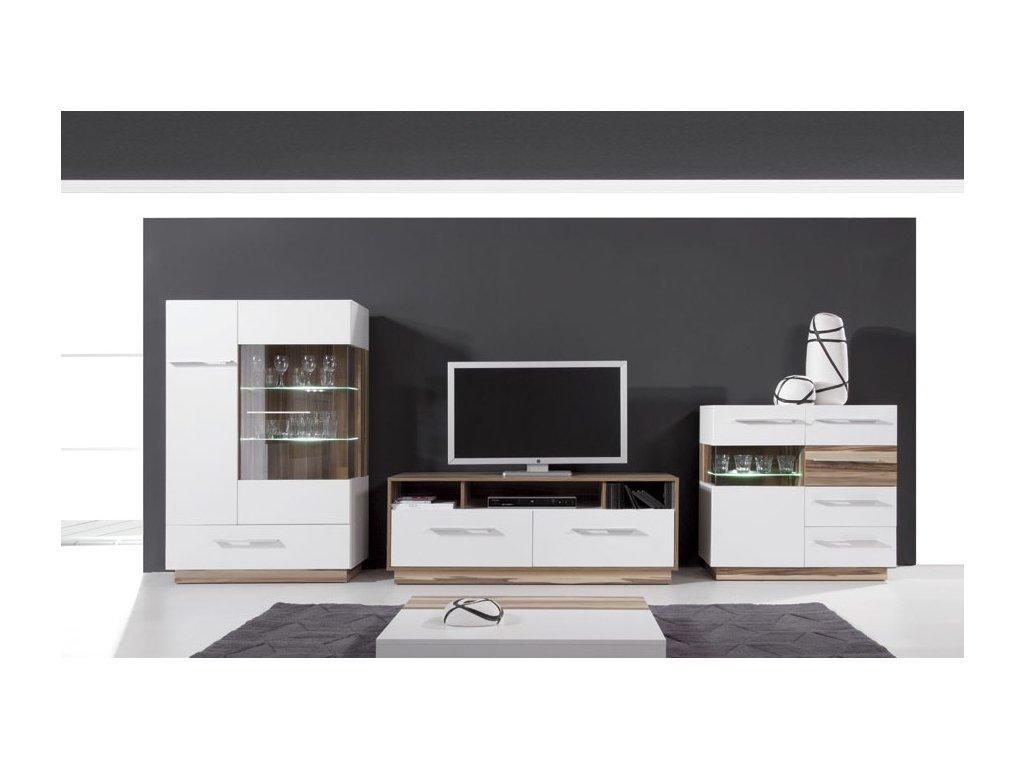 Obývací stěna MONSUN B (Barevné provedení černá / ořech baltimore)