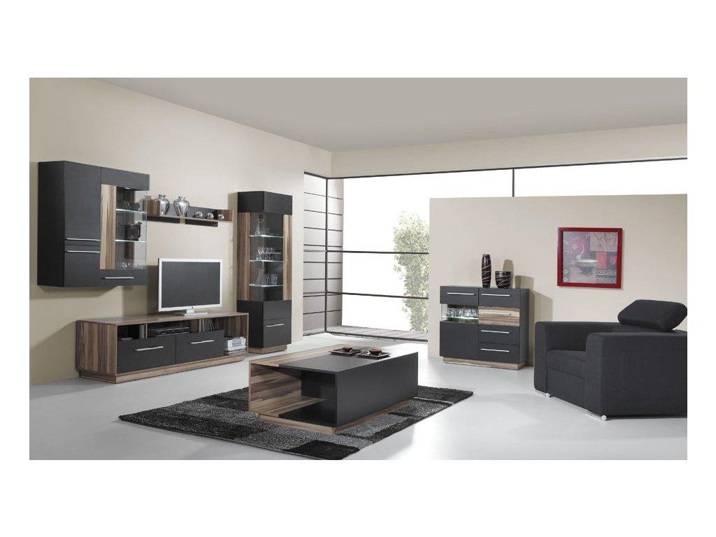 Obývací stěna MONSUN D (Barevné provedení černá / ořech baltimore)