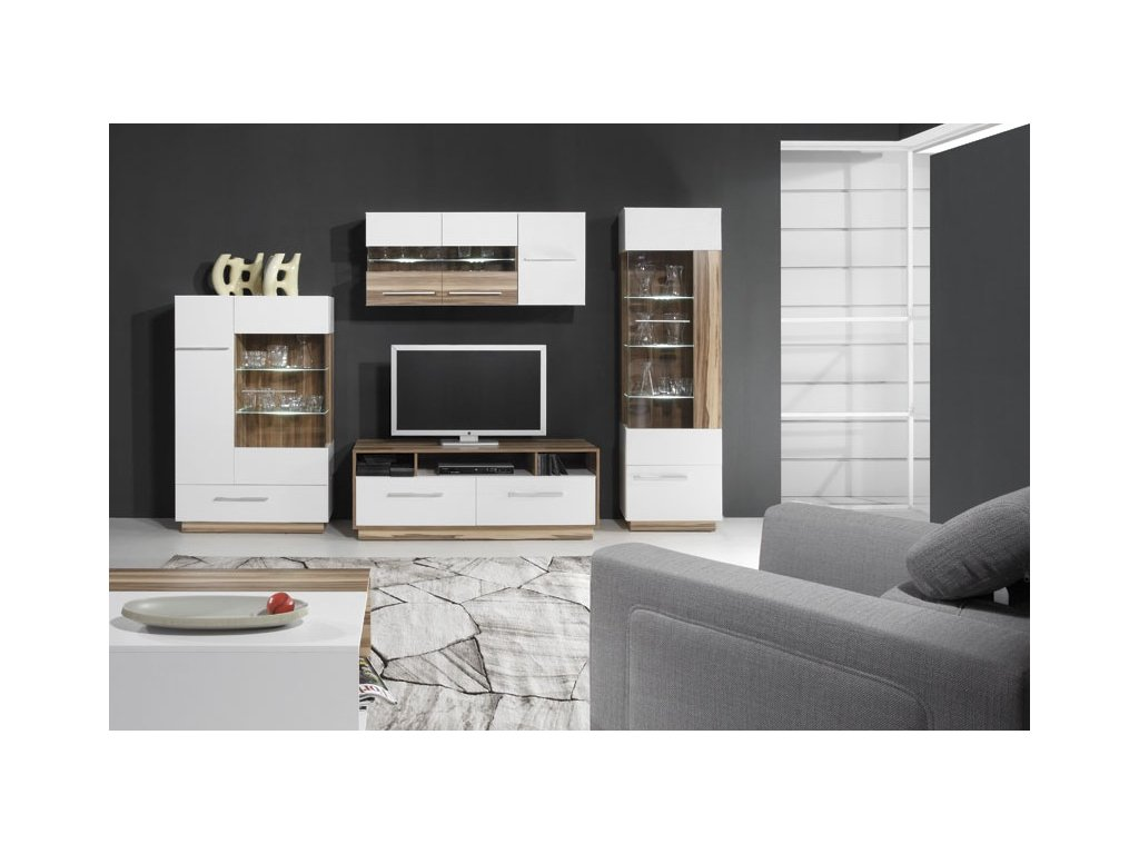 Obývací stěna MONSUN E (Barevné provedení černá / ořech baltimore)