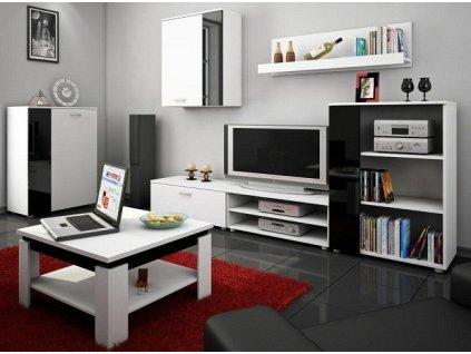 Obývací stěna SKY bílá/černý lesk