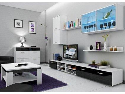 Obývací stěna MAGIK bílá/černý lesk
