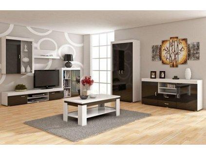 Obývací stěna MAMBA bílá/černý lesk