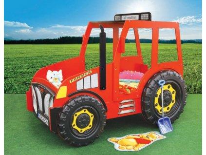 postel traktor červený