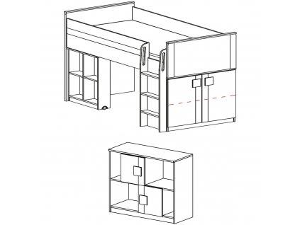 Vyvýšená postel GUMI G19 (G15+G17)