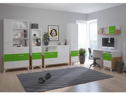 HEY aranżacja 2 dąb artisan biały zielony
