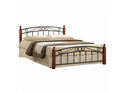 Manželská postel DOLORES dřevo třešeň/černý kov - 3 DRUHY