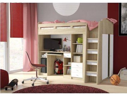 Vyvýšená postel UNIT dub sonoma / bílá
