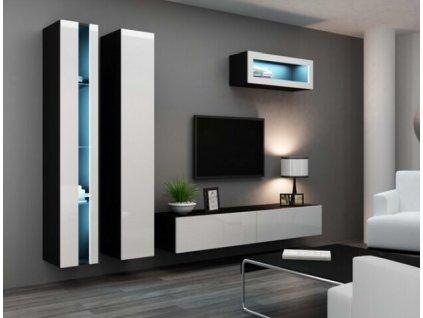 Obývací stěna VIGO II NEW černá / bílý lesk