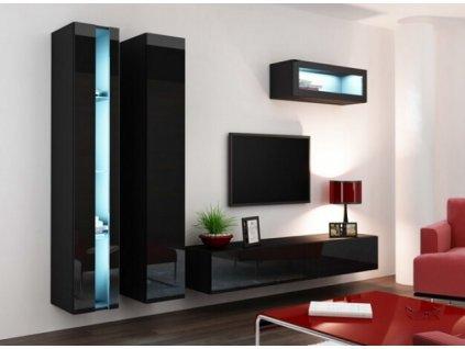 Obývací stěna VIGO II NEW černá / černý lesk