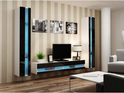 Obývací stěna VIGO III NEW bílá / černý lesk