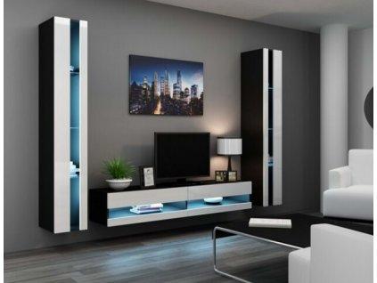 Obývací stěna VIGO III NEW černá / bílý lesk
