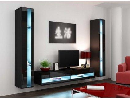 Obývací stěna VIGO III NEW černá / černý lesk