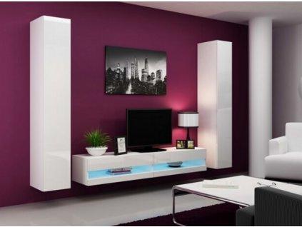 Obývací stěna VIGO IV NEW bílá / bílý lesk