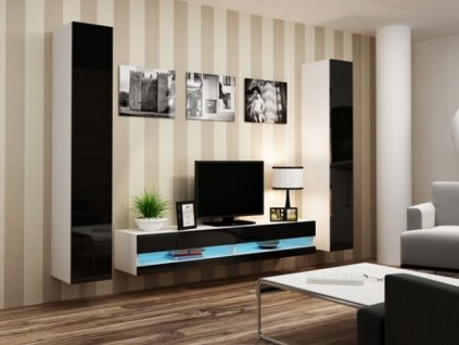 Obývací stěna VIGO IV NEW bílá / černý lesk