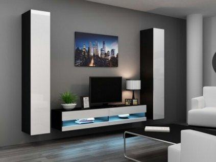 Obývací stěna VIGO IV NEW černá / bílý lesk