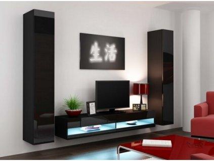 Obývací stěna VIGO IV NEW černá / černý lesk