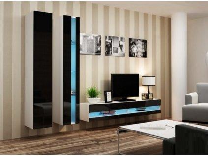 Obývací stěna VIGO NEW V bílá / černý lesk