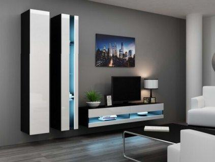 Obývací stěna VIGO NEW V černá / bílý lesk