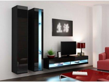 Obývací stěna VIGO NEW V černá / černý lesk