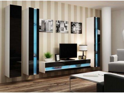Obývací stěna VIGO NEW VI bílá / černý lesk