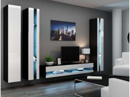 Obývací stěna VIGO NEW VI černá / bílý lesk