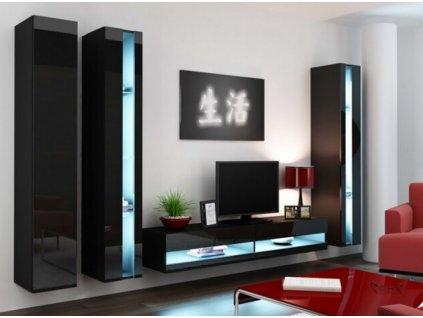 Obývací stěna VIGO NEW VI černá / černý lesk